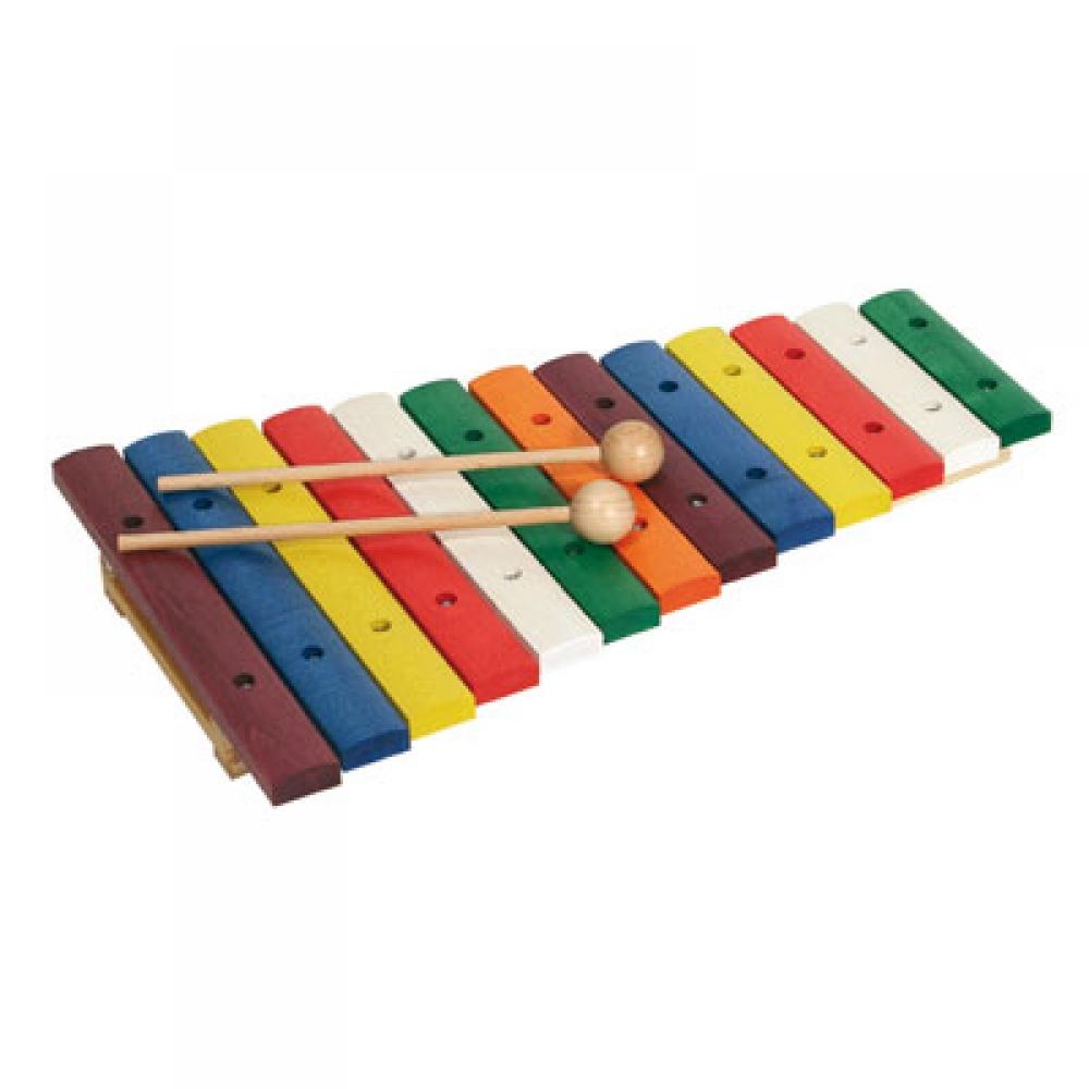 Xylofoon met gekleurde houten leggers