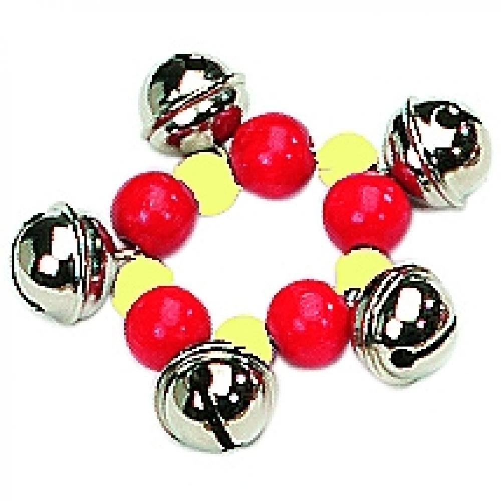 Gekleurde armband met 5 schelletjes